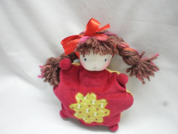 S A L E  30%  Waldorf inspired soft doll, red plush, toy for kids