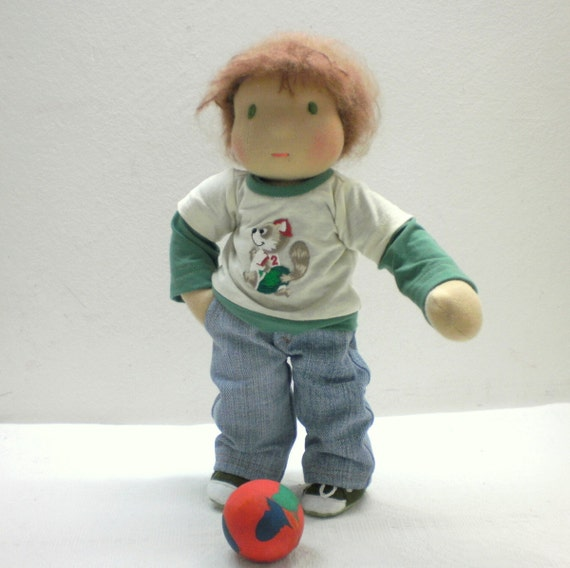 "SALE 20 % Waldorf  boy -12"" boy, pants of blue  denim, green and cream shirt with raccoon, made of natural materials"