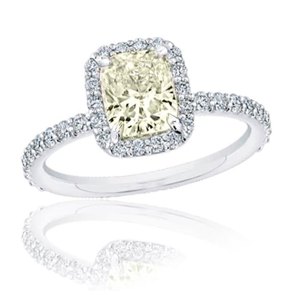 Diamond Engagement Ring 1.80 carat Fancy Light Yellow Cushion and Round Cut Diamond in 18K White Gold