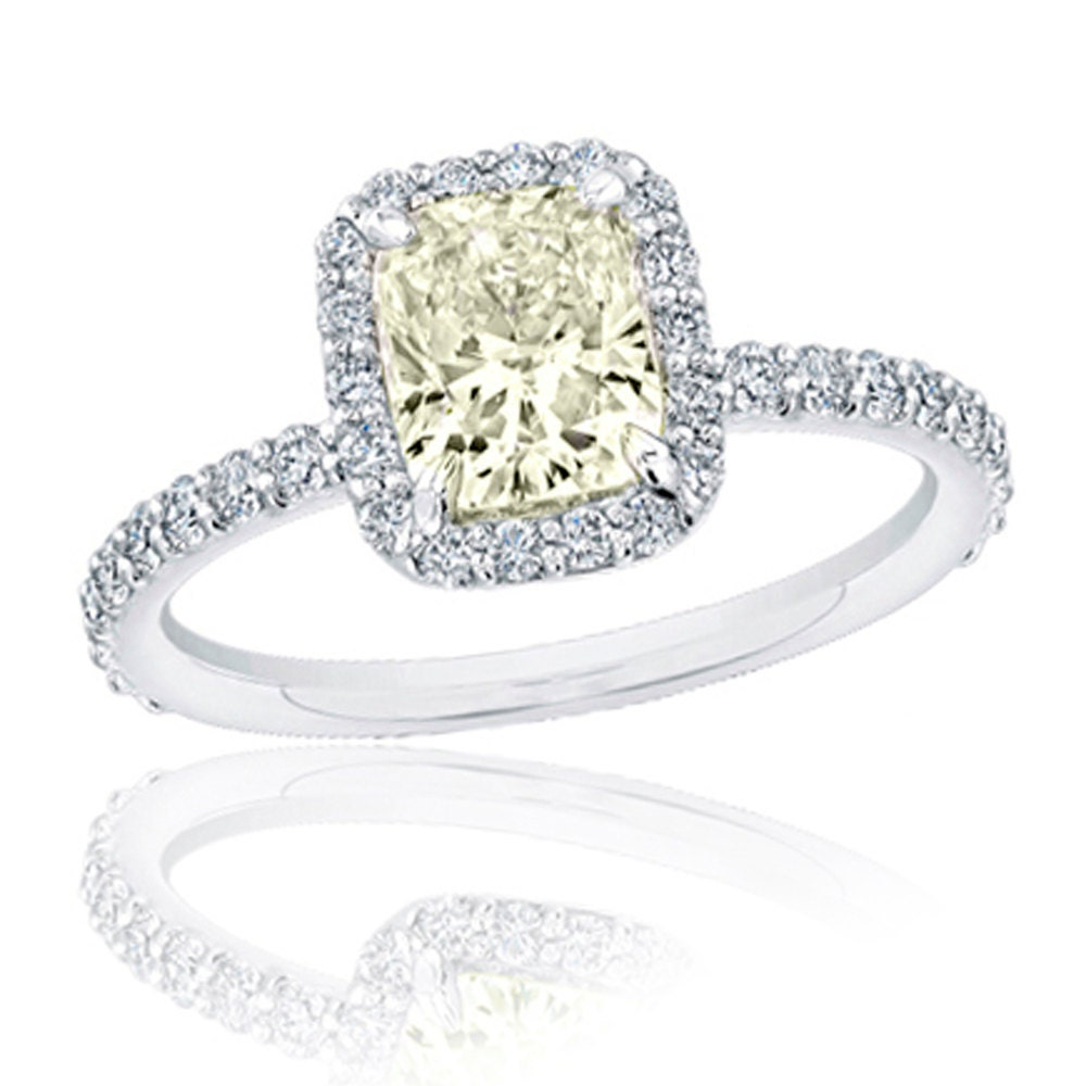 Diamond Engagement Ring 1 80 carat Fancy Light Yellow Cushion