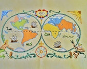 Free Shipping OLDE World  Map  Completed Cross Stitch Handmade