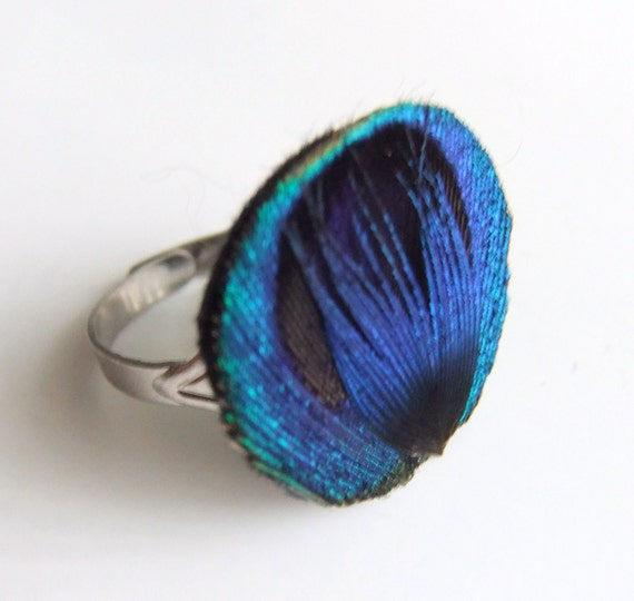 Blue Peacock Ring Jewelry Peacock Feather Ring Cocktail Ring Teal Jewelry Accessories Peacock Feather Jewelry