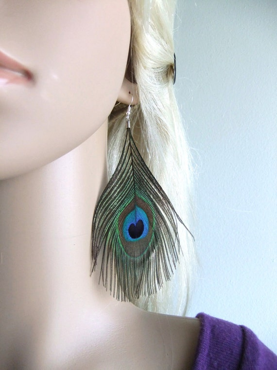 Unique Peacock Feather Earrings, Purple, Teal, Blue, Peacock Feather Accessories, Sterling Silver Peacock Jewelry, Peacock Earrings