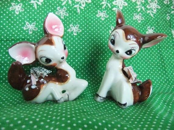 Deer Figurines Ceramic Deer Fawn Figurine Vintage 50s Home Decor Fawn Deer Salt & Pepper Shaker Japan Kawaii