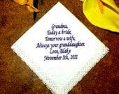 Personalized Wedding Handkerchief Grandmother Grandma