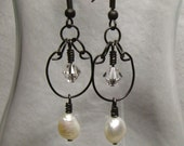 Earrings - Chic, Glam,Dangles - Prom, Evening, Black Wire Wrapped Freshwater Pearls, Swarovski Crystals, BoHo Stylish