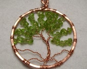 Peridot/Copper Tree of Life Pendant Necklace - Healing Peridot, Hammered Copper Pendant,  Copper Wire Wrapping