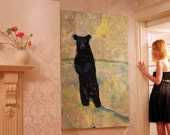 RESERVED Original oil painting ..Painted Bear.. Black and White by Mrs Jade