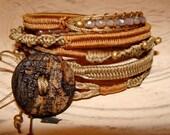 Rustic macrame picasso beads wrap bracelet
