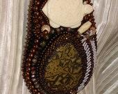 Bead embroidery turtle medicine bag necklace