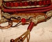 Carnelian gemstone macrame wrap bracelet