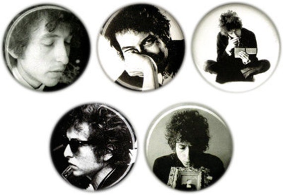 Set of 5 Black and White Bob Dylan 1.25 inch pin buttons