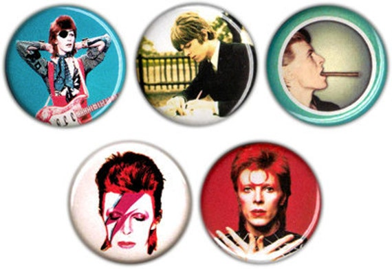 Set of 5 Color David Bowie 1.25 inch pin buttons