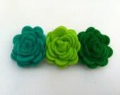 Felt Rose Flower Hair Clip in Emerald Green, Lime Green, and Grass Green