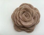 Large Felt Rose Flower Hair Clip in oatmeal