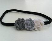 Felt Rose Flower Headband in Soft Gray, Silver Gray, and White
