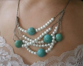Turquoise and Faux Pearl Necklace