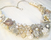 Elegant Bridal Bib Necklace with Crystal Flower Brooch and Pearls- Wedding Statement Necklace