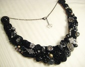 Black Bib Statement Necklace with Rhinestones, Crystals, and Vintage Lace - Bridal Jewelry, Couture Statement Jewelry, OOAK, Silver Accents