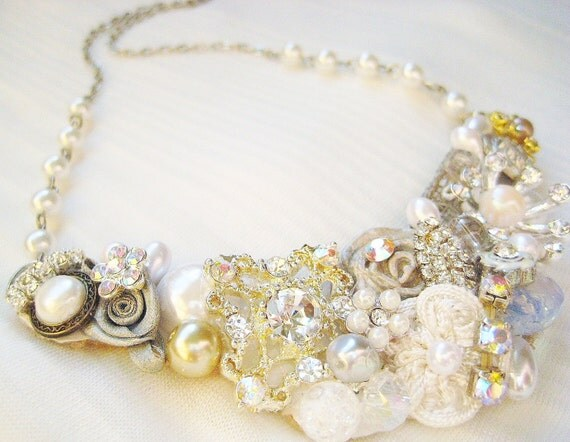 Bridal Bib Necklace- Vintage Inspired Ivory Statement Jewelry with Pearls, Crystals, and Rhinestones