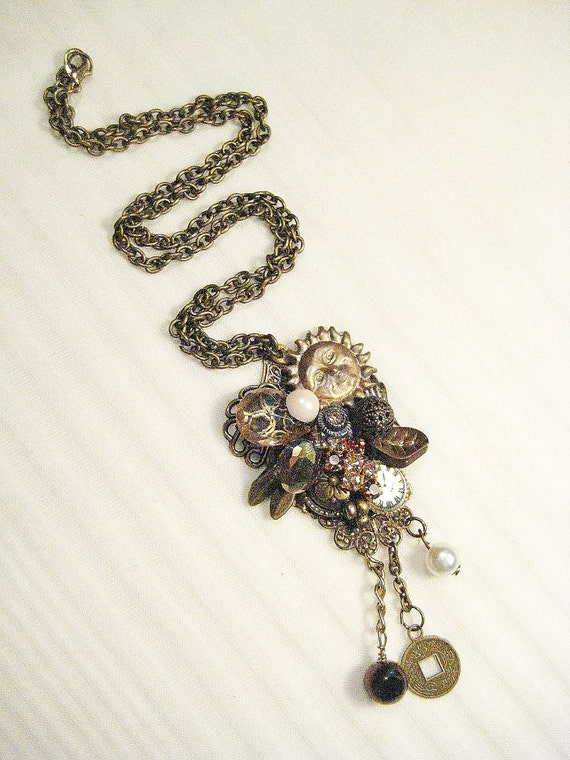 Bronze Beauty Pendant Necklace- Long Antique Brass Chain with Collage Pendant- Steampunk Jewelry with Pearls