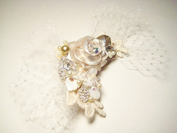 Vintage Bridal Hair Clip with Bird Cage Veil Netting in Ivory- Rhinestones, Lace, Pearls Hairpiece- Wedding Hair Accessories- Fascinator