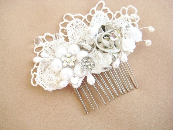Vintage Lace Bridal Hair Comb -Candlelight W/ Pearl Flower- Wedding Hair Piece- Hair Accessories- Rhinestones, Silver- BrassBoheme