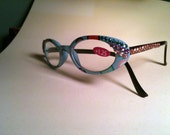 Blue and Pink frames with pink crystal reading glasses - Summer Fun Reading Glasses
