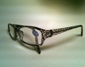 Black and clear spotted pattern with clear crystal reading glasses - Crystal Giraffe Reading Glasses