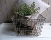 Reserved for Sutton...Vintage Wire Locker Basket / Wire Basket / Galvanized Basket / Featured on the front page of ETSY