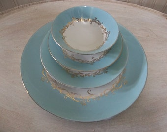 Lifetime Homer Laughlin Gold Crown China Turquoise Aqua Teal China Place Setting