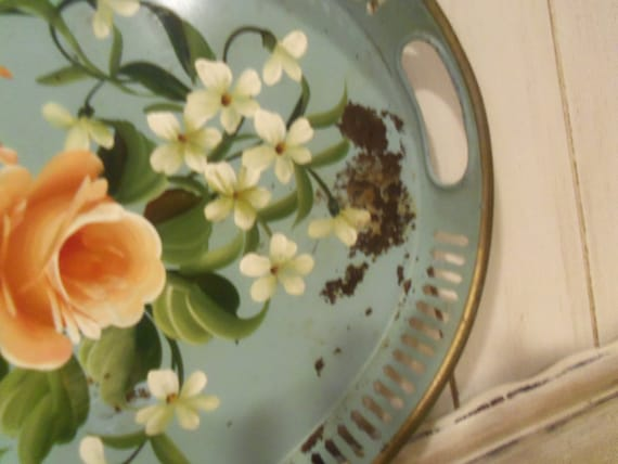 Vintage Metal Tole Tray Shabby Blue Foral Tole Tray Metal Tray