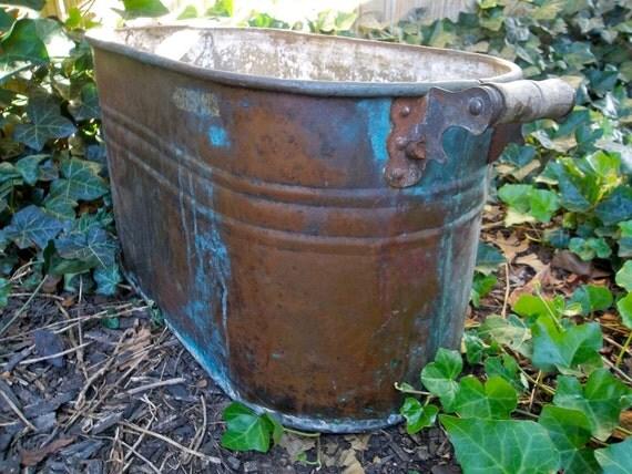 Antique Large Copper Boiling Tub Large Copper Tub Copper Pot