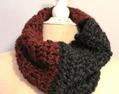 Gray and Maroon Chunky Cowl