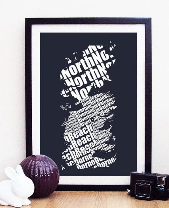 Typographic Westeros Art Print - Ice Version