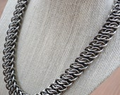 GSG Stainless Steel Square Ring Men's Chainmaille Necklace