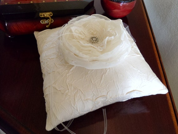 Light Ivory Crinkle Taffeta Ring Bearer Pillow with a Handmade Flower and Vintage Rhinestone Button