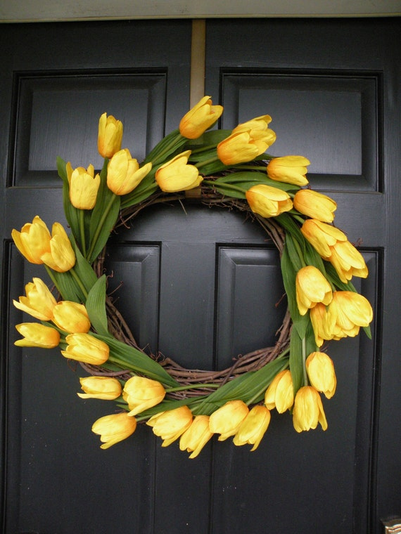 Yellow Tulip Spring and Summer Wreath