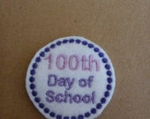 100 days of school felt feltie embroidery design