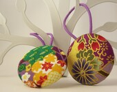 Large fabric button hair ties - Japanese fabric