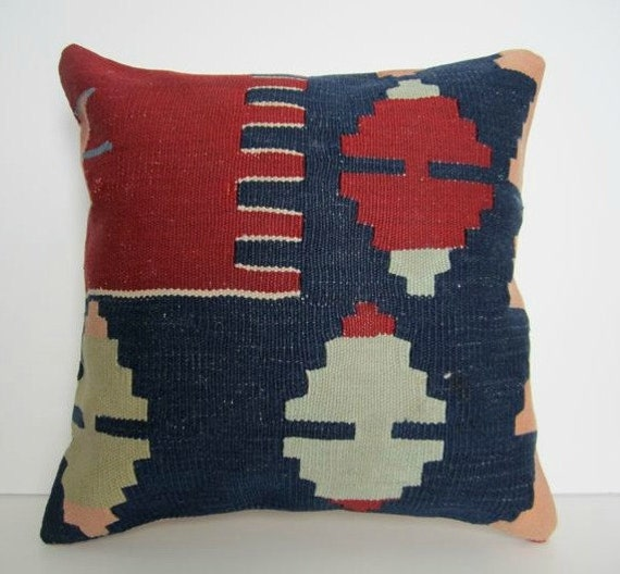 Reserved for Claire's Registry/ Vintage Turkish Handwoven Kilim Pillow Cover, 16x16 - delivered in 2-3 days with tracking number