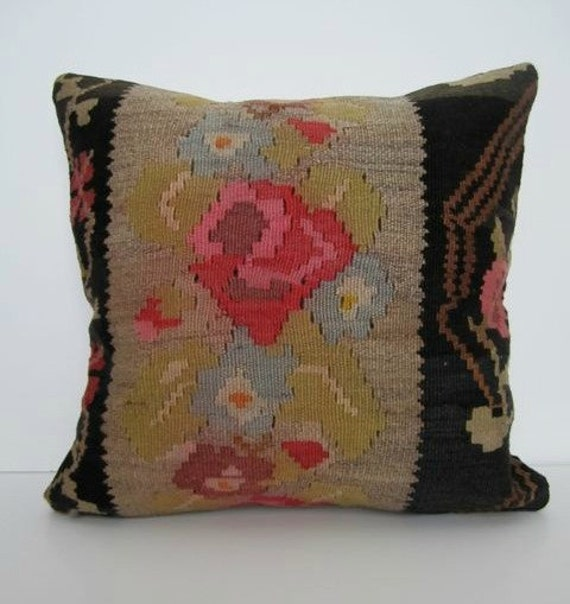 SALE/ Vintage Turkish Handwoven Kilim Pillow Cover, 16x16 - delivered in 2-3 days with tracking number