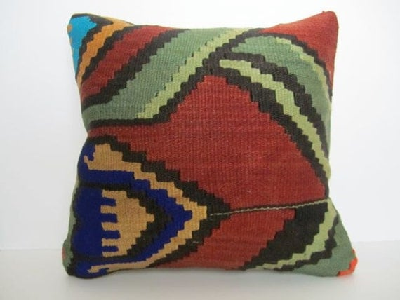 Vintage Turkish Handwoven Kilim Pillow Cover, 16x16 - delivered in 2-3 days with tracking number