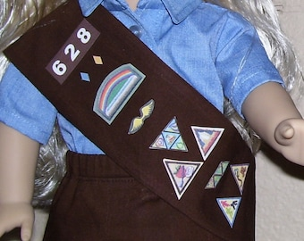 18 Inch Doll Clothes - Brownie Girl Scout Sash