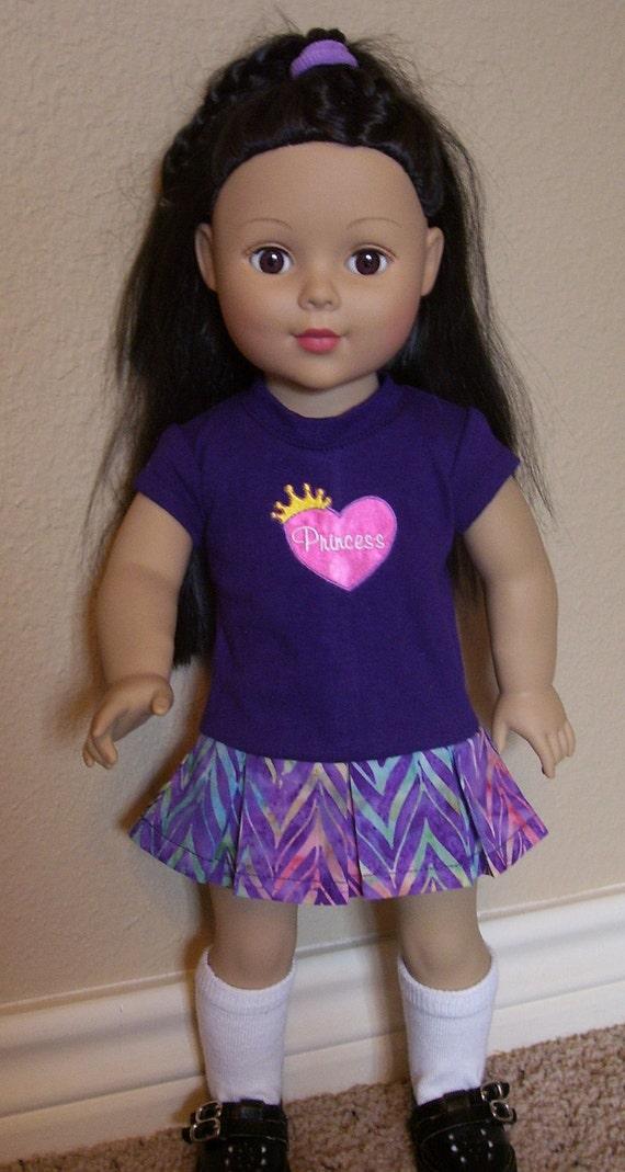 18 inch doll clothes- purple Princess dress