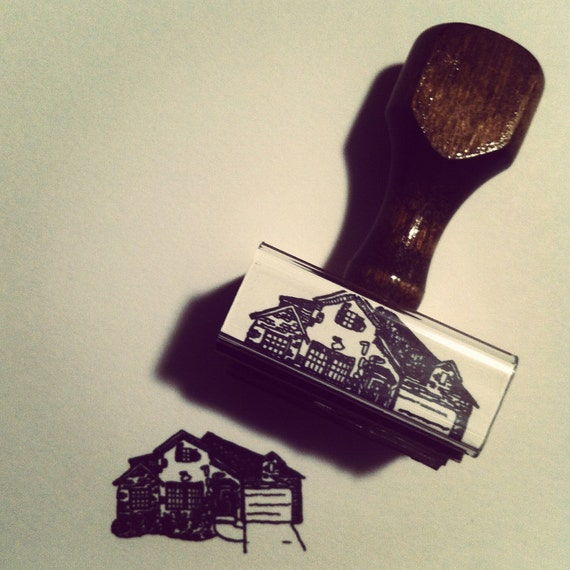 Custom Drawn Home Rubber Stamp