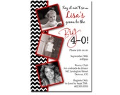 Chevron Stripe 30th 40th 50th 60th 70th Any Age Birthday Party Invitation Card   - Any Color