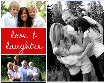 Peace Love & Laughter Christmas Holiday Photo Collage Card or Invitation  - You Print