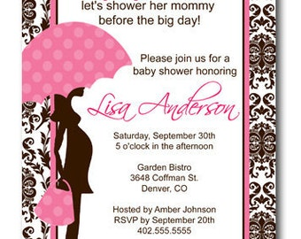 Brown Damask Pink Unbrella Baby Shower Invitation Card  - Any Color