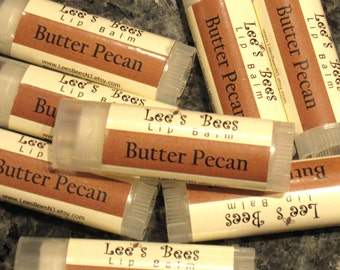 Butter Pecan Beeswax Lip Balm, One Tube Lip Salve Chapstick from Lee the Organic Beekeeper